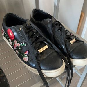 Embroidered faux leather sneakers